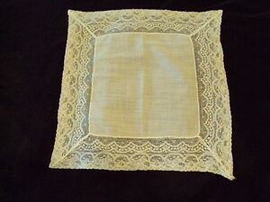 Lovely Cotton and Lace Wedding Lace Hankie A3