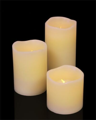 LED Wax Vanilla Scented Pillar Candle Light Electric Battery Small, Med or Large