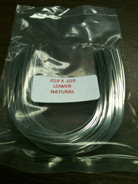 """019"""" x 025"""" Stainless Steel Orthodontic Wire - 100 Arches per pack Lower Natural"""
