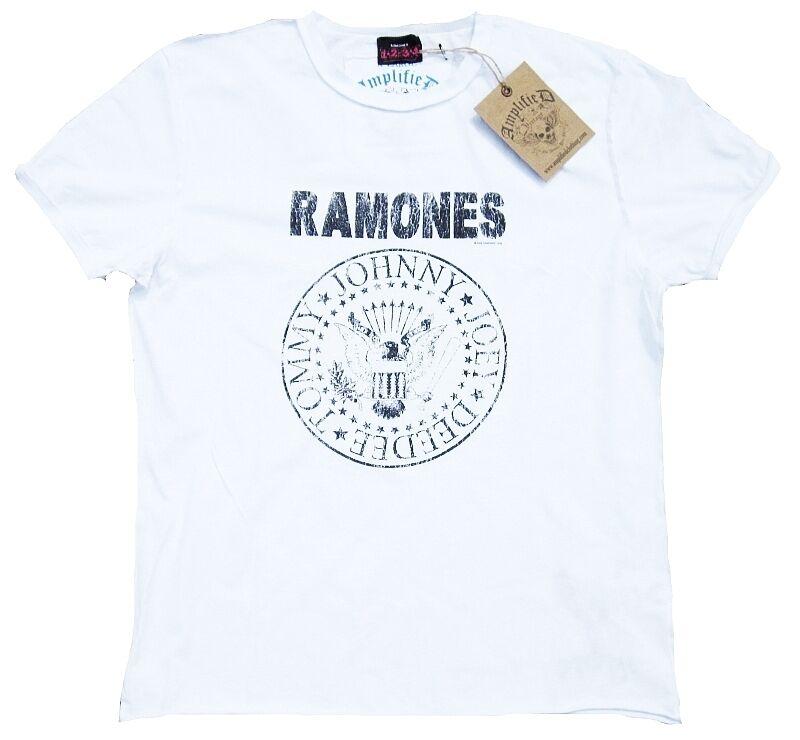 Amplified Ramones Logo Go Hey Ho Let's Go Logo Vintage Rock Star Designer Tee-Shirt S 6084a2