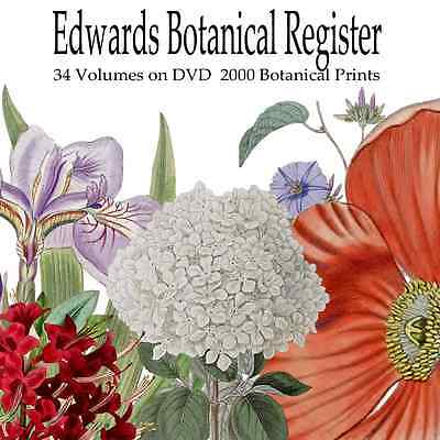 33 Magazines+2000 Prints on DVD Edwards Botanical; Flowers; Art; Engravings;
