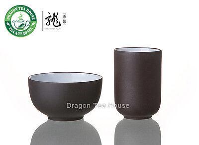 Chinese Zisha Clay Glazed Dark Brown Aroma Tea Cup Set
