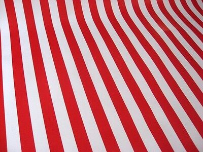 RED + WHITE CABANA STRIPE FLAG PICNIC CANDY CANE OILCLOTH VINYL TABLECLOTH 48x48