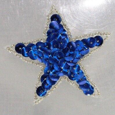 Outlined Blue Star Sequin Applique Shinny Bright Pressure Sensitive glue