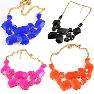 New-Charms-Geometry-Pendant-Gold-Plated-Resin-Bib-Necklace-5colour-U-pick-A1161