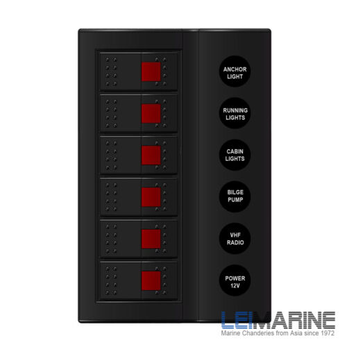 6-Gang Waterproof LED Boat Switch Panel Black 183×120(mm) Marine Yacht New Stock