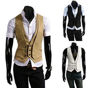 Mens-Casual-V-neck-Vests-Sleeveless-2-Layer-Design-Slim-Waistcoat-Size-M-XL-M02