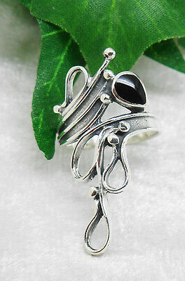Romantic Silver Ring With Onyx - Romantic Gothic Middle Ages WGT