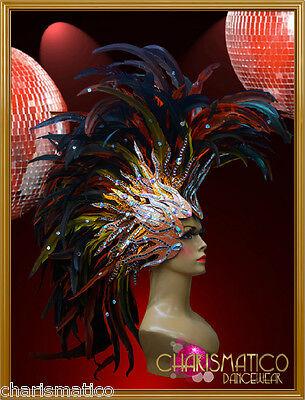Charismatico GOLD Orange Mohawk Drag Queen Fancy Feather Headdress