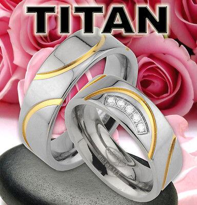 Genossenschaft 2 Trauringe In Titan Eheringe Ringe , Ip Gold Platierung & Gravur Gratis , Jt1-5