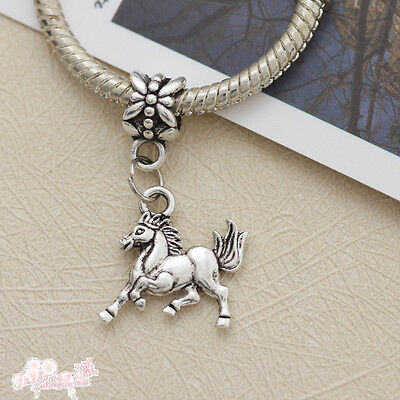 30 Pcs Tibetan Silver Horse Dangle Charm Beads Fit Bracelet 16MM