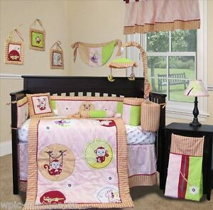 Custom Baby Bedding - Jungle Monkey (Pink) - 15 pcs Nursery Crib Bedding Set