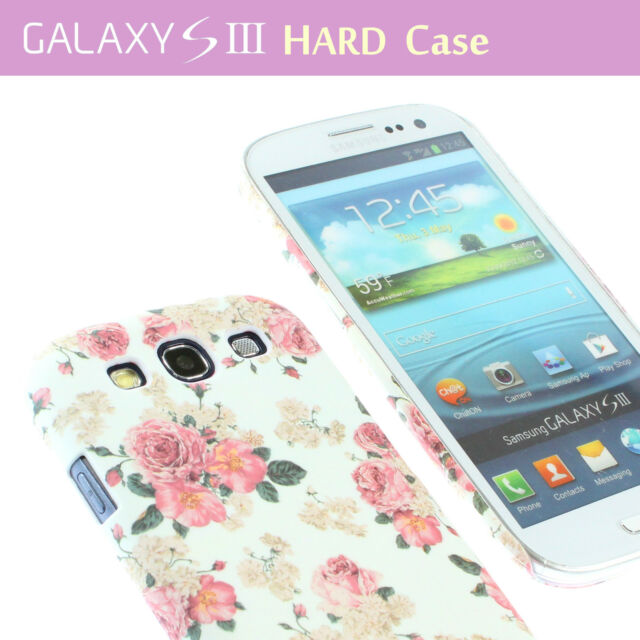 White Flower Floral Print Hard Back Case Cover F Samsung Galaxy S3 i9300 & Film