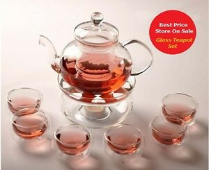 GLASS-TEAPOT-TEA-SET-with-INFUSER-glass-Warmer-6-Double-Wall-Cups-Gift-set