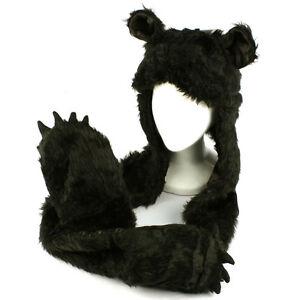 Winter-Faux-Fake-Fuzzy-Animal-Fur-Scarf-Trapper-Hat-w-Paw-Gloves-Mittens-Black