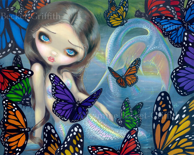 Jasmine Becket-Griffith art BIG print SIGNED Halcyon mermaid butterfly water pop