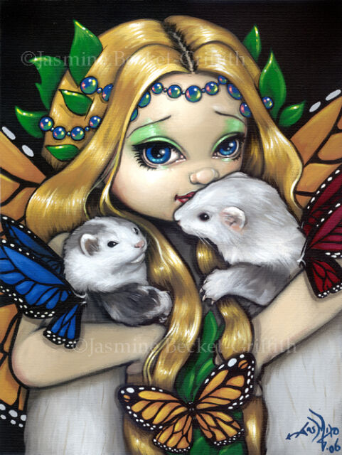 Jasmine Becket-Griffith art print SIGNED Two Fae Ferrets fairy angel pet big eye
