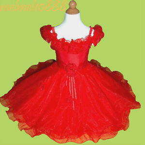 USMD08-Red-Flower-Girls-Baby-Wedding-Pageant-Party-Dress-1-2-3-4-5-6-7-8-9-Yrs