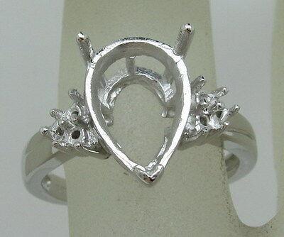 9x12mm Pear Semi Mount Settings Ring 925 Sterling Silver Size UK M