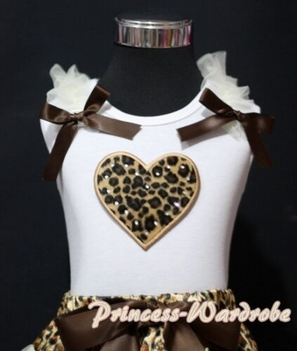 White Pettitop Tank Top with Leopard Ruffle Heart Black Bow For Pettiskirt NB-8Y