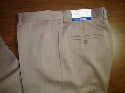 NWT $175 HART SCHAFFNER MARX  MODERN WOOL DRESS PANTS MENS 40 LONG 40L BROWN NEW