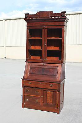 Walnut Victorian Slant Front Secretary Desk Bookcase w Large Fancy Crown ~Ca1870