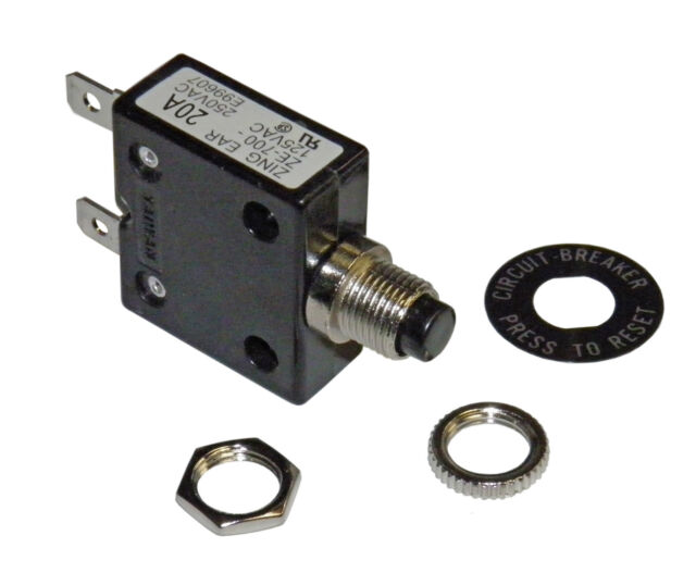 Push Button 20 Amp Circuit Breaker  for 12/24/50 volts DC or 110/220 volts AC