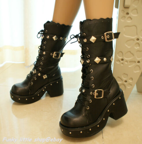 Black 3' heels studded buckle lace-up boots shoes punk rock goth lolita emo EGL