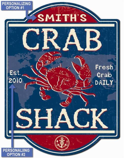 """Crab Shack"" Personalized Menu Board Wall Sign"