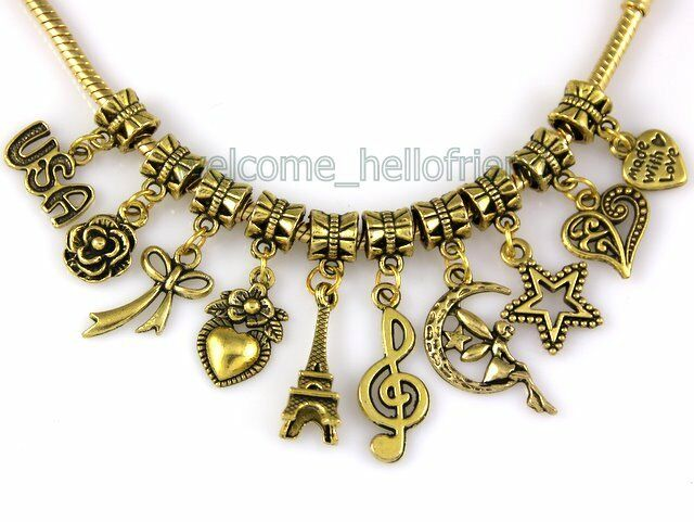 Wholesale 100 Gold Plated Bulk Lots Mix Dangle Charms Fit Bracelet JH01