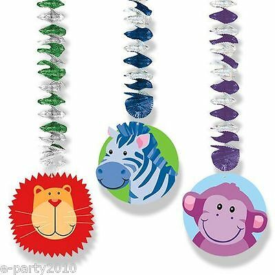 (3) JUNGLE Safari HANGING DECORATIONS ~ Baby Shower Birthday Party Supplies