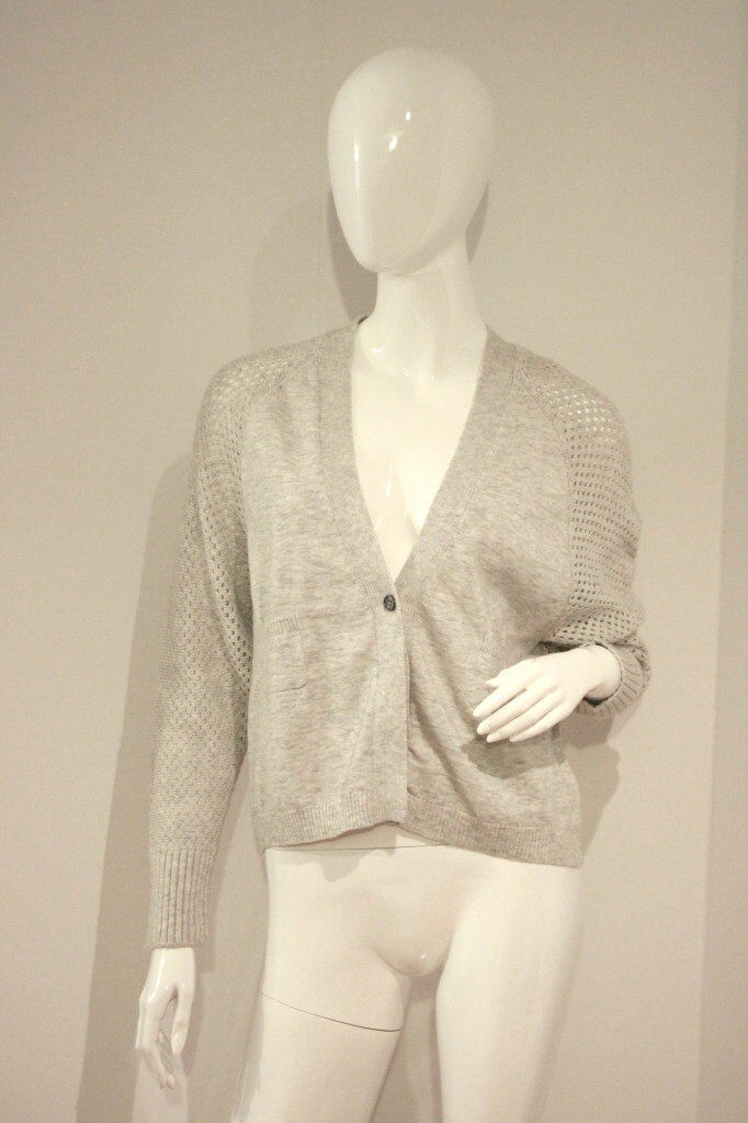 YOON Light HEATHER GREY Button CARDIGAN Top SWEATER Cashmere BLEND S Free Ship