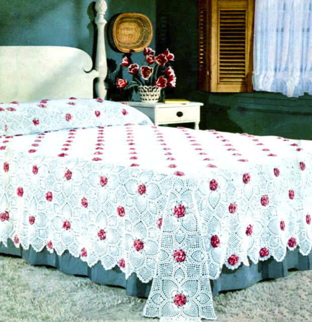 Vintage Crochet pattern-How to make a pretty flower motif throw,bedspread,afgan