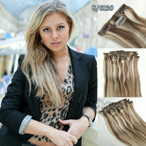 Brown/bleach Blonde 100% Remy Human Hair Extensions Clip in 100G-120G #8/613