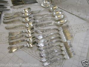 RARE-French-Art-Nouveau-Silver-By-Armand-Fresnais-85Pcs-w-Ladle-Knives