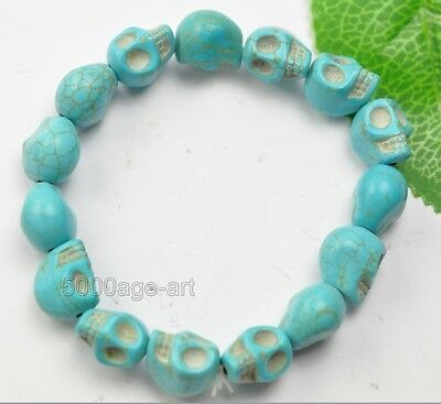 Fashion Turquoise 12MM Skull bead Bracelet Elastic Wristband Punk Rock Bangle