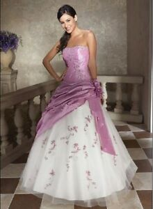 New-Storage-Strapless-Lavender-white-Wedding-Dress-Bridal-gowns-Proms-lace-up