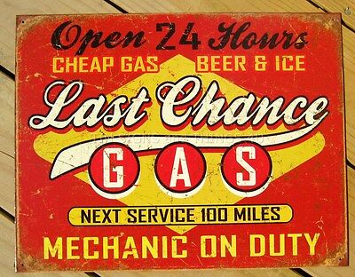 Last Chance Gas Station Beer & Ice TIN SIGN metal wall decor vintage garage 1684