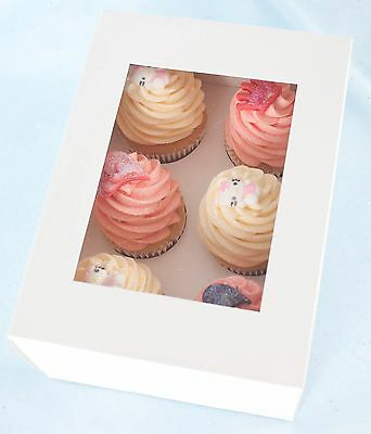 "25 x 4"" DEEP White Cupcake / Muffin Box with Window & Insert - Holds 6 Cupcakes"