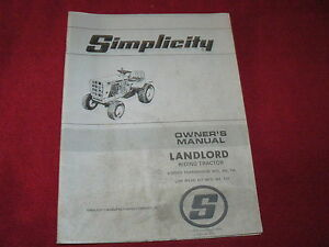 Simplicity-Landlord-Riding-Tractor-Operator-039-s-Manual
