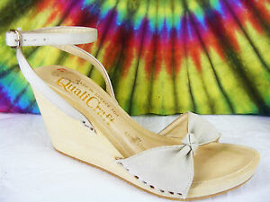 sz-9-vtg-70s-tan-fabric-QUALI-CRAFT-wooden-wedge-ankle-strap-clog-sandals-shoes