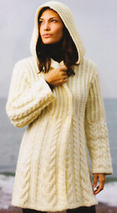 Chunky Graduated Cable Hooded Aran Style Jacket Knitting ...