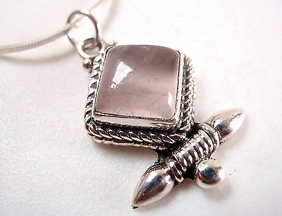 Rose Quartz Necklace Tribal Style 925 Sterling Silver Cabochon New