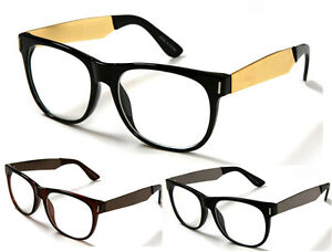 wayfarer metal frame  New Black\u0026amp;Gold Frame Eye Glasses Gold Metal Temples Wayfarer ...