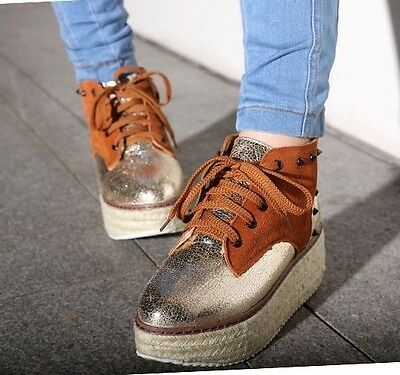 Womens Genuine Leather Sparkling Lace Up Spike Studs Platform Ankle Boots #81