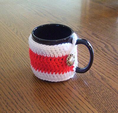 Hand Crochet Red and White Coffee Mug Cozy