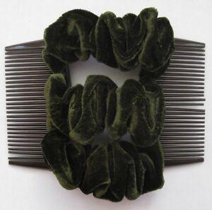 green-velvet-fabric-material-double-elastic-stretch-hair-comb-bun-maker