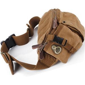 Vintage-Canvas-Hiking-Purse-Shoulder-Bumbag-Fanny-Pack-Adjustable-Belt-Waist-Bag