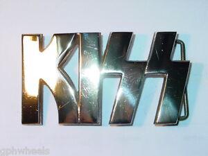1977-1978-KISS-LOGO-Rock-n-Roll-BRASS-BELT-BUCKLE-NICE