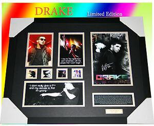 DRAKE-HIP-HOP-MUSIC-MEMORABILIA-SIGNED-FRAMED-LIMITED-EDITION-499-COA